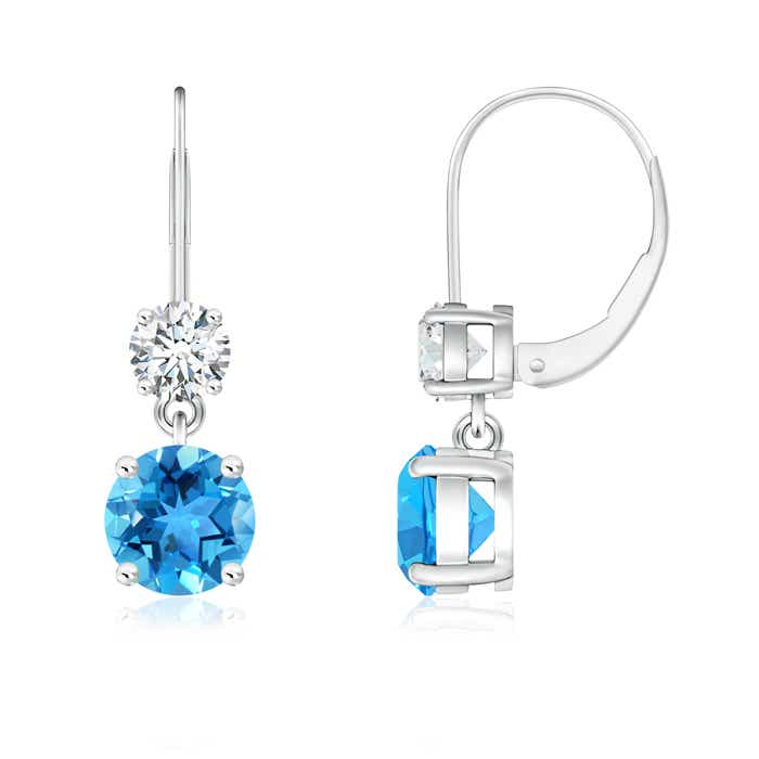 Round Swiss Blue Topaz Leverback Dangle Earrings with Diamond - Angara.com