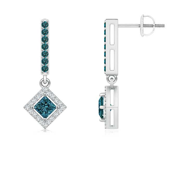 This Item Floating Princess Cut Enhanced Blue Diamond Dangle Earrings 1 079