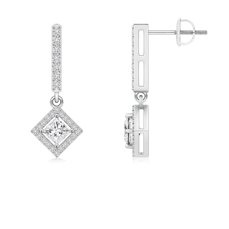 Floating Princess-Cut Diamond Dangle Earrings - Angara.com