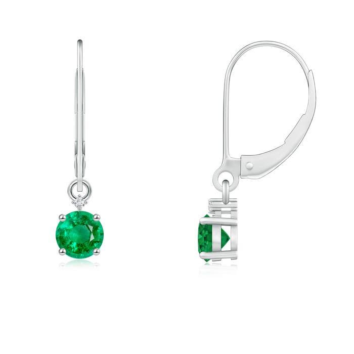 Solitaire Emerald Dangle Earrings with Diamond - Angara.com