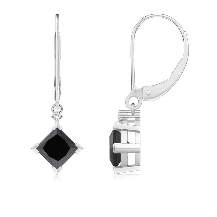 Princess-Cut Enhanced Black Diamond Leverback Earrings - Angara.com