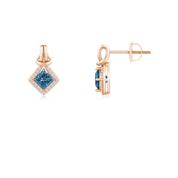 Image Is Loading Princess Cut Enhanced Blue Diamond Love Knot Earrings