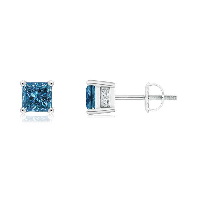 This Item Princess Cut Enhanced Blue Diamond Solitaire Stud Earrings 1 079