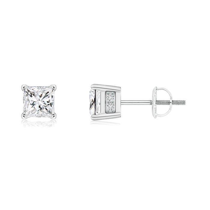 Princess-Cut Diamond Solitaire Stud Earrings - Angara.com