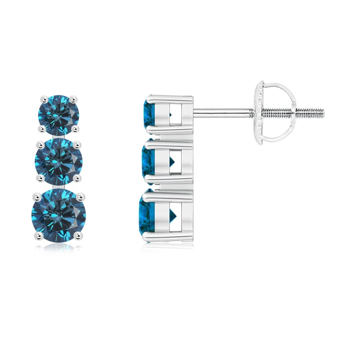Graduated Round Enhanced Blue Diamond Three Stone Earrings - Angara.com