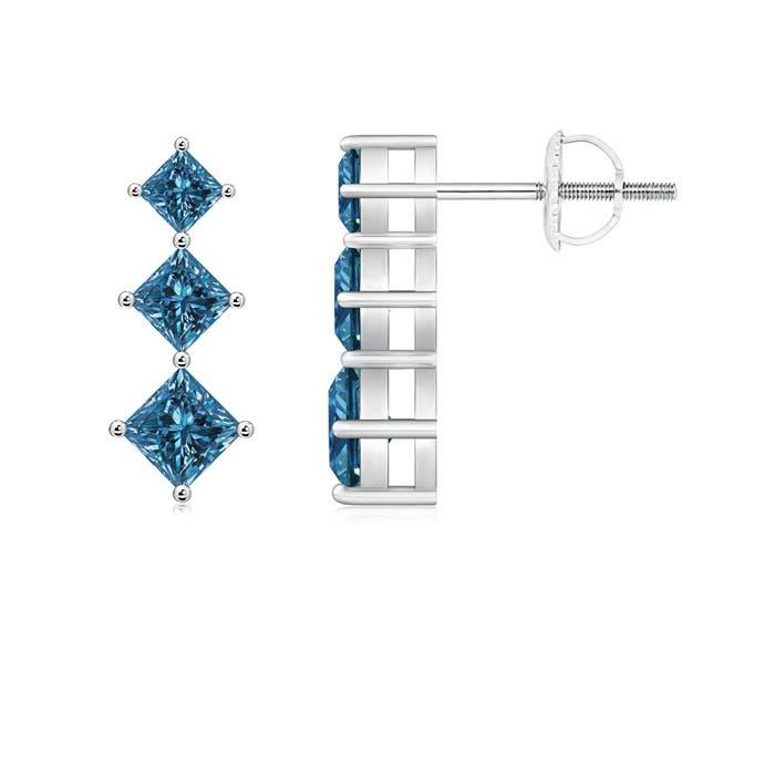 Princess-Cut Enhanced Blue Diamond Three Stone Earrings - Angara.com