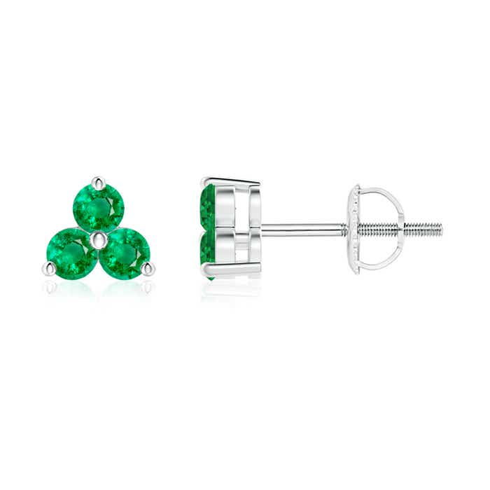 Round Emerald Three Stone Stud Earrings - Angara.com
