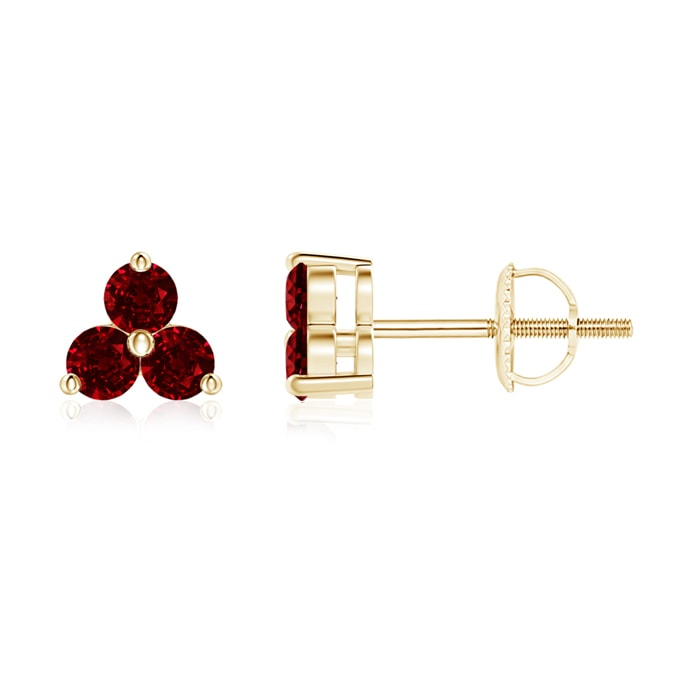 Angara 14k White Gold Round Ruby Solitaire Earrings h9S8nRn2