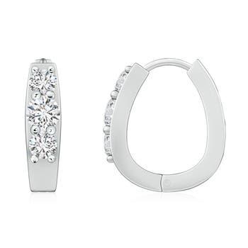 Angara Round Enhanced Black Diamond Three Stone Hoop Earrings in White Gold jiHUNVV