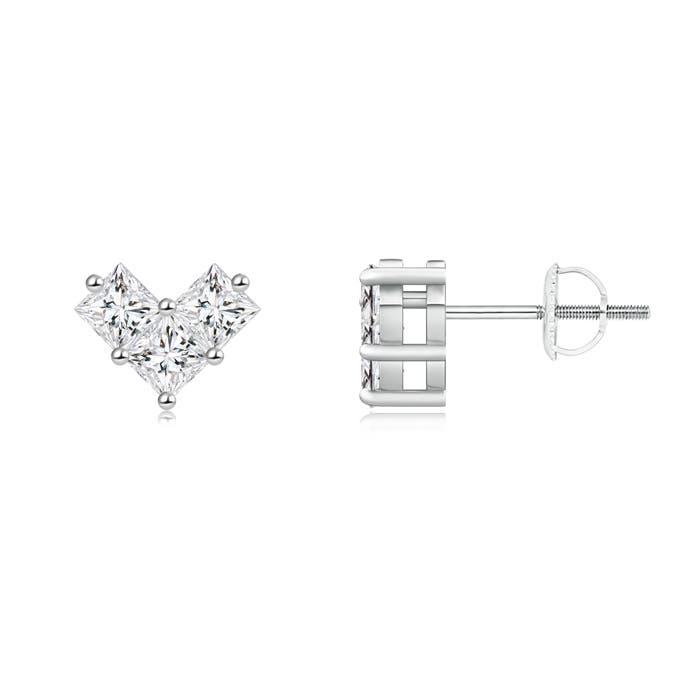 Angara Princess Cut Diamond Earrings in Platinum IzBD4