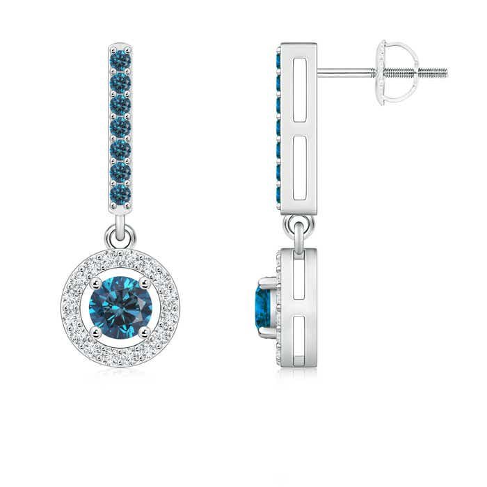 Floating Round Enhanced Blue Diamond Halo Drop Earrings - Angara.com