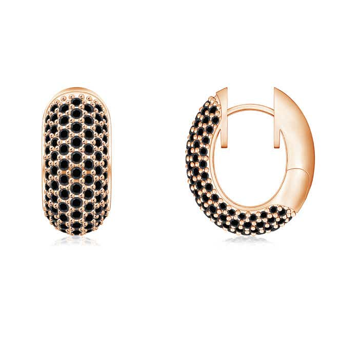 Micro Pave-Set Enhanced Black Diamond Hoop Earrings - Angara.com