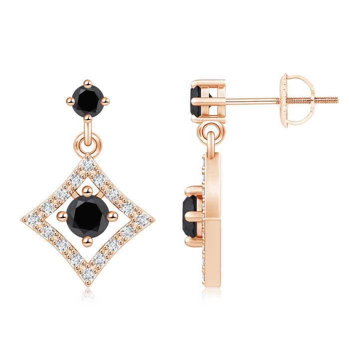 White and Enhanced Black Diamond Geometric Drop Earrings - Angara.com