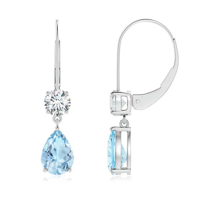 Pear Aquamarine Leverback Drop Earrings with Diamond - Angara.com
