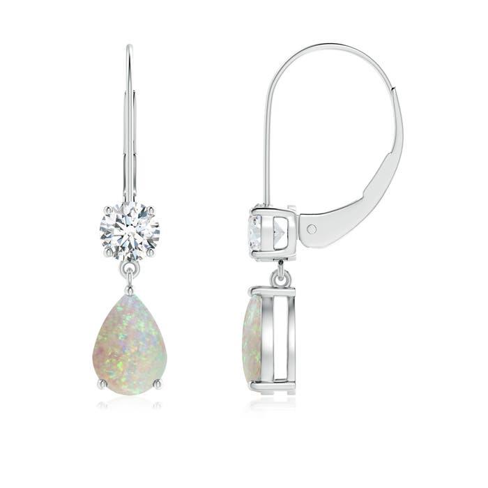 Pear Opal Leverback Drop Earrings with Diamond - Angara.com