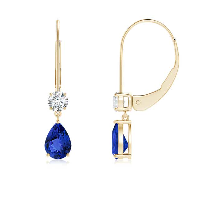 Angara Pear Shaped Tanzanite Leverback Earrings in White Gold MtR1QY6R2