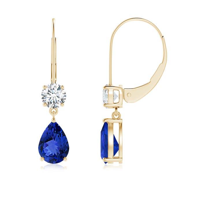 Angara Tanzanite and Diamond XO Leverback Drop Earrings in 14K White Gold XtY91c