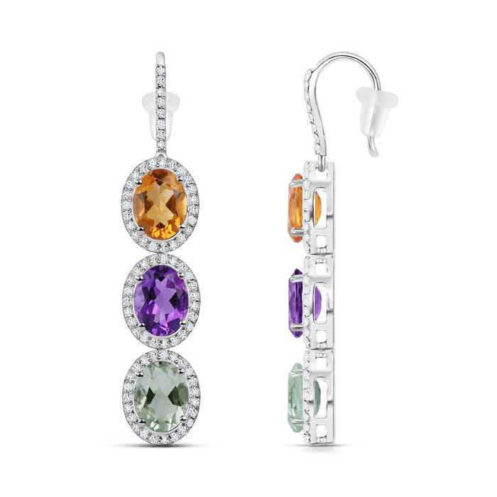 Oval Citrine and Amethyst three Stone Drop Earrings - Angara.com