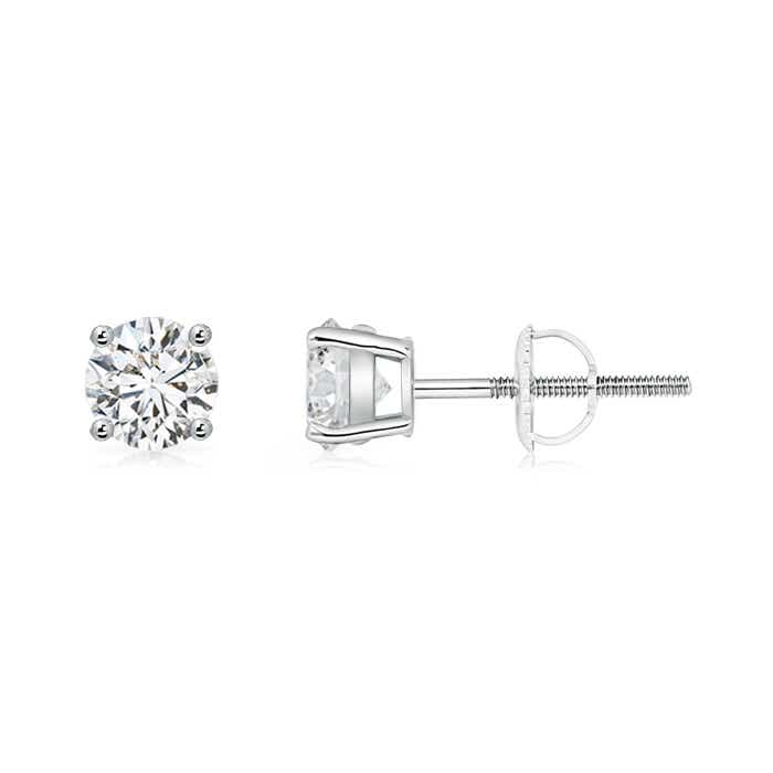 Basket-Set Solitaire Diamond Stud Earrings