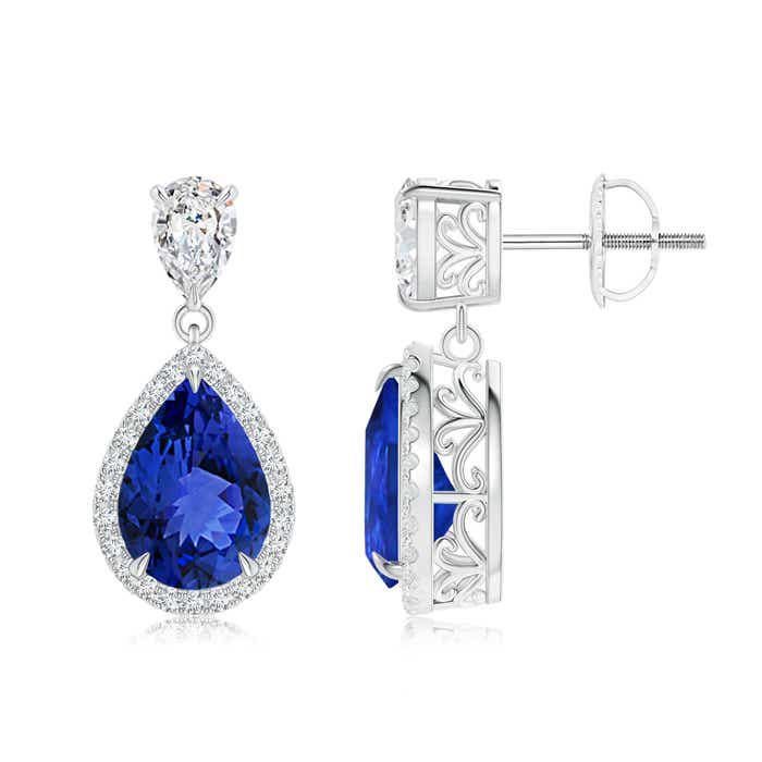 Angara Oval and Pear Blue Sapphire Drop Earrings with Diamond Halo