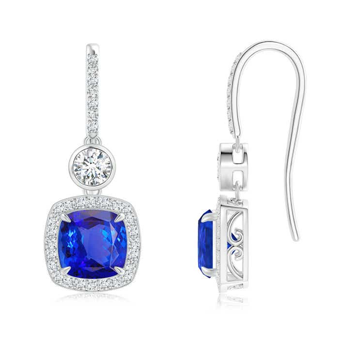 1dcc8321ed8515 Fish-Hook Cushion Tanzanite Dangle Earrings with Diamonds | Angara