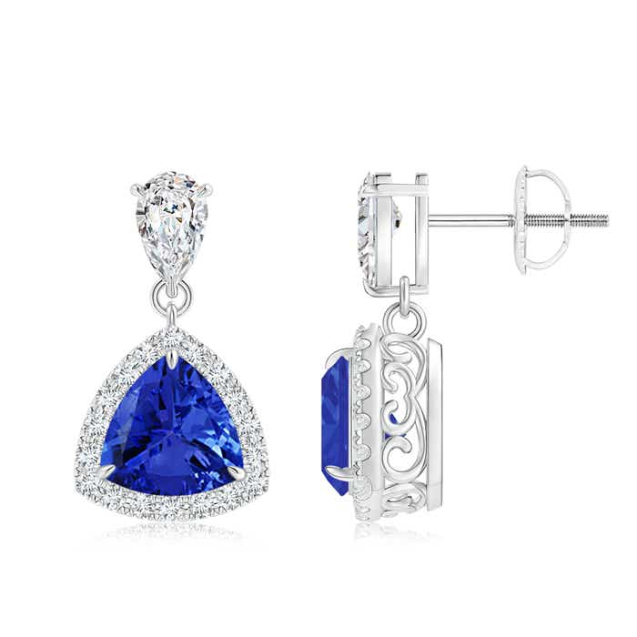 Claw Set Trillion Cut Tanzanite Halo Earrings - Angara.com