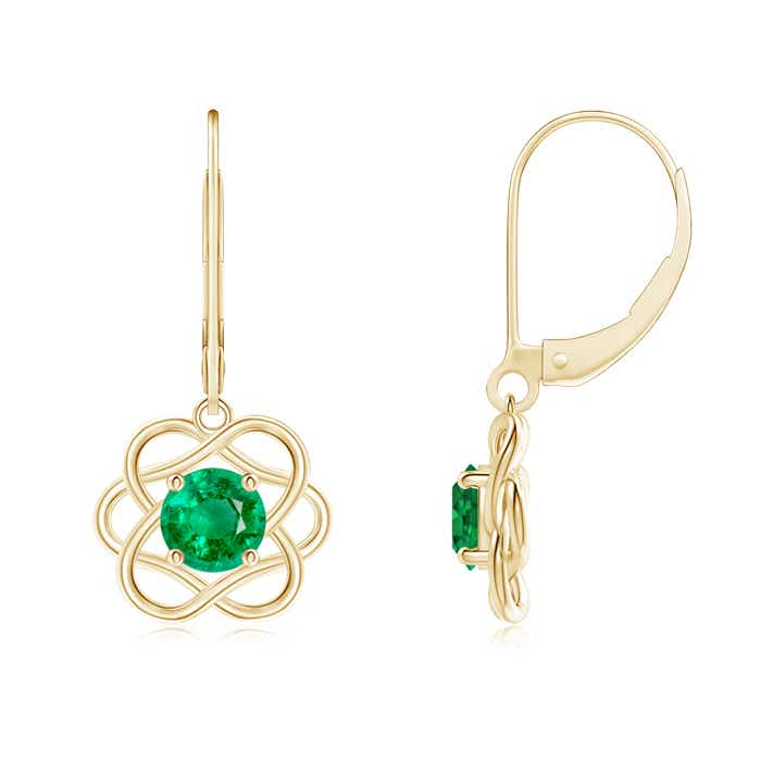 Leverback Dangle Solitaire Emerald Flower Earrings - Angara.com