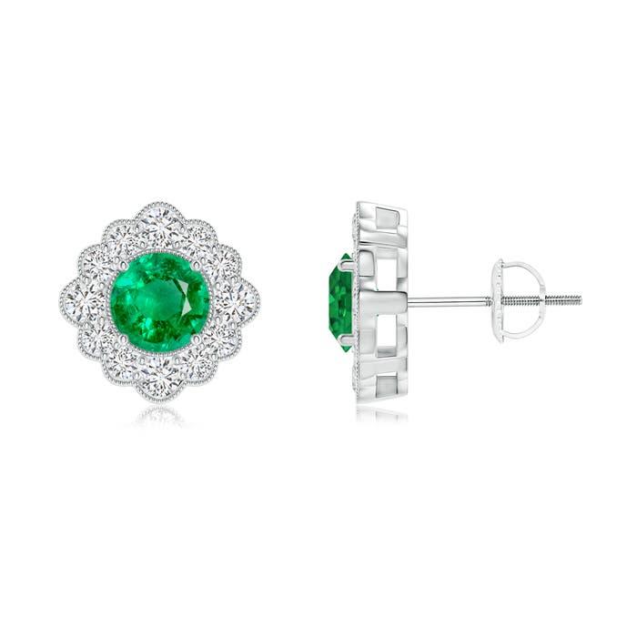 Milgrain Edge Halo Emerald Flower Stud Earrings - Angara.com
