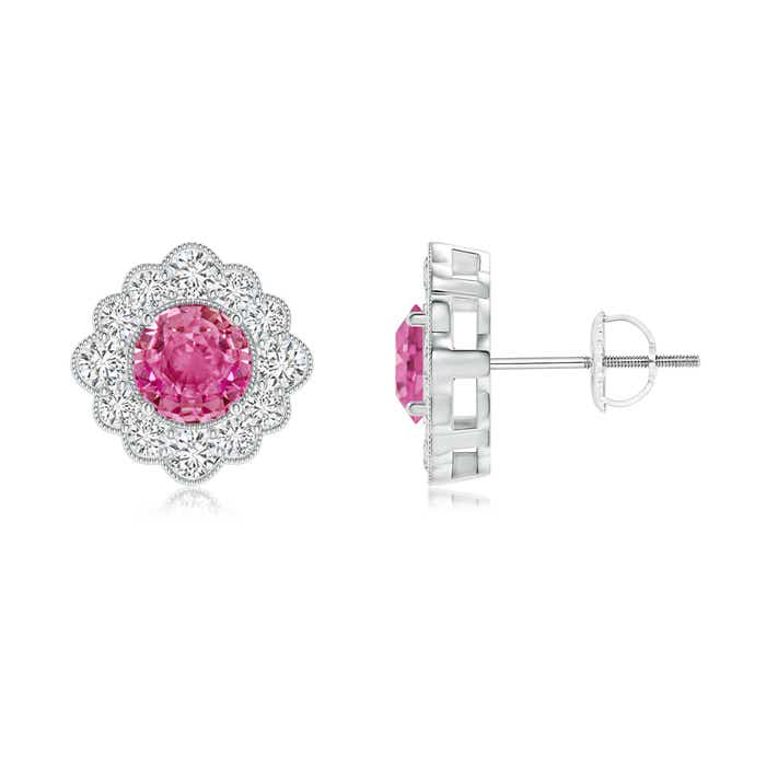 Angara Round Pink Tourmaline Solitaire Earrings in Platinum 3rC4O