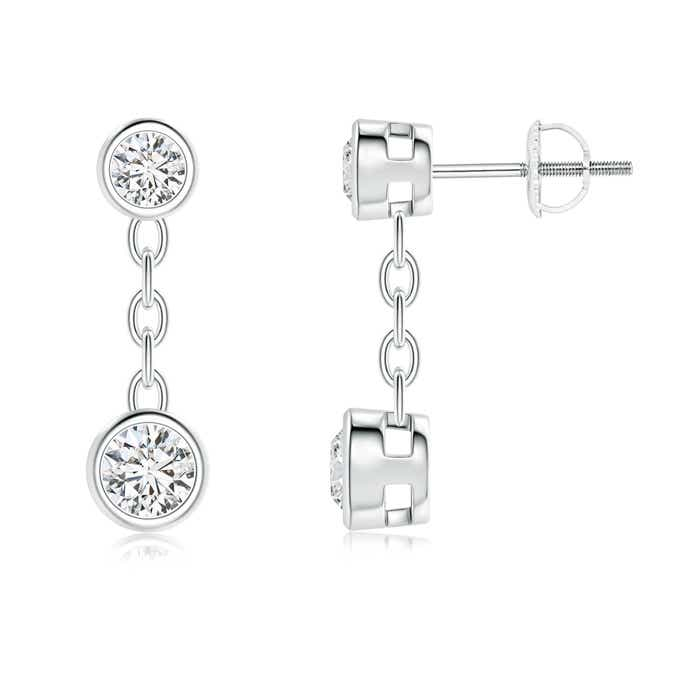 Angara Drop Earrings with Two Stone Diamond in Platinum
