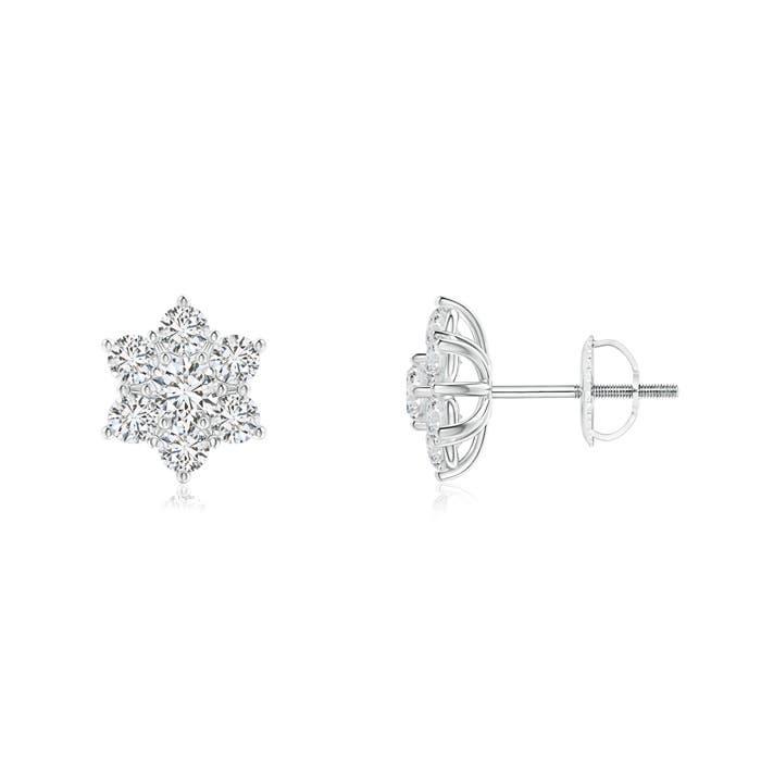 Prong Set Cluster Diamond Flower Stud Earrings  - Angara.com