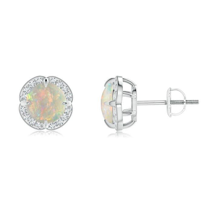 Claw-Set Cabochon Opal and Diamond Halo Studs - Angara.com