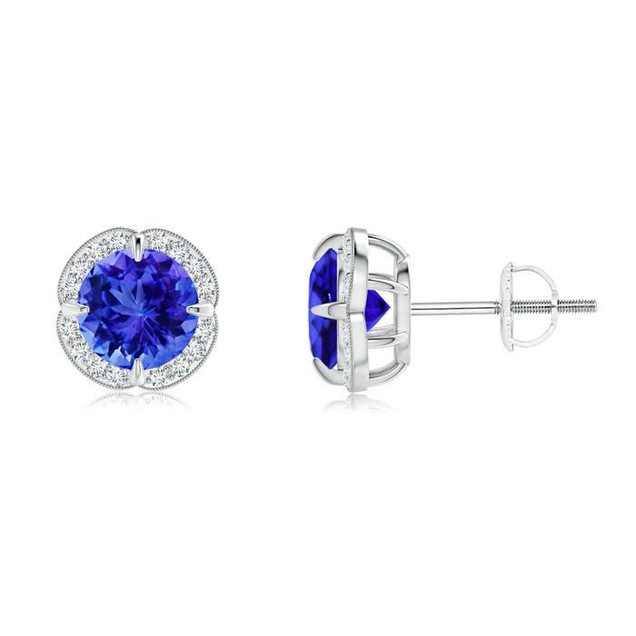 Angara Round Tanzanite and Diamond Halo Stud Earrings in Rose Gold DdKOLqX