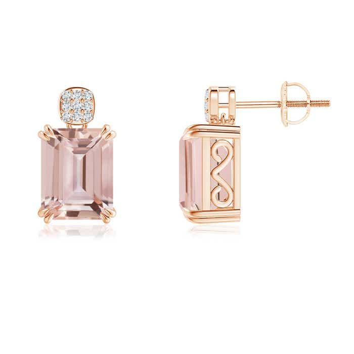 Emerald-Cut Morganite Cocktail Earrings with Diamond Cluster - Angara.com