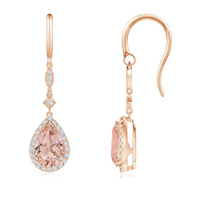 Angara Oval Morganite Dangle Earrings with Coffee and White Diamond