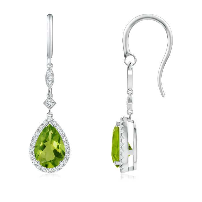Pear-Shaped Peridot Drop Earrings with Diamond Halo - Angara.com