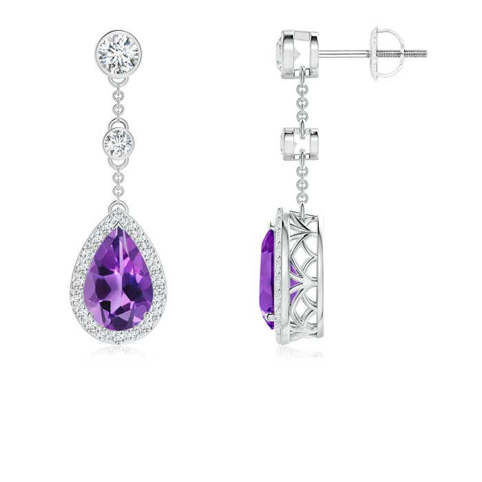 Vintage Style Pear-Shaped Amethyst Halo Drop Earrings - Angara.com