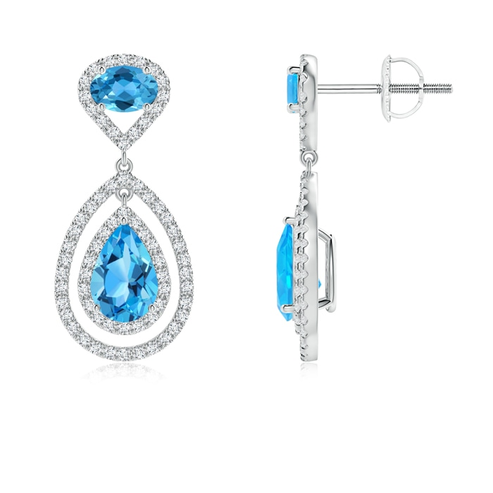 Angara Pear-Shaped Swiss Blue Topaz Drop Earrings with Diamonds w22SFMFBV