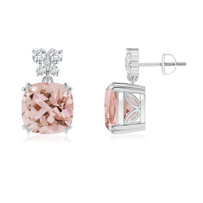 Morganite Dangle Earrings with Diamond Butterfly Motifs - Angara.com