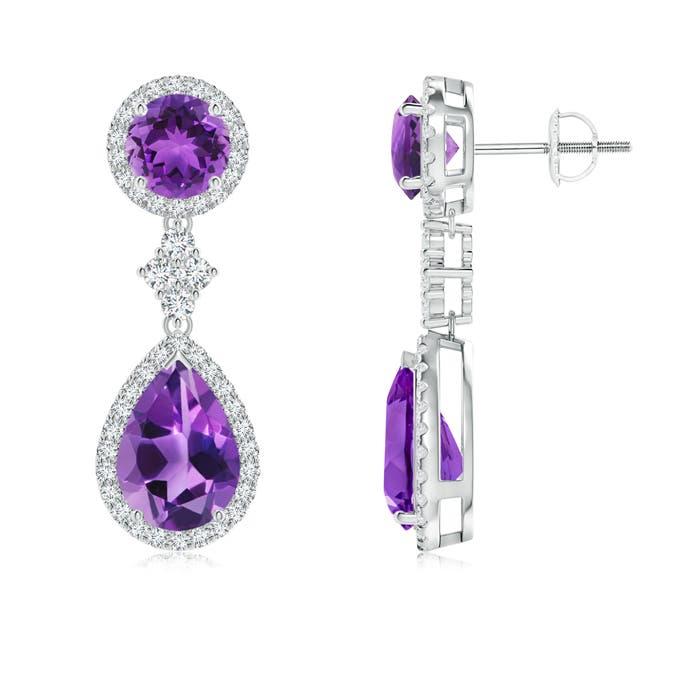 Halo Diamond Two Tier Amethyst Drop Earrings - Angara.com