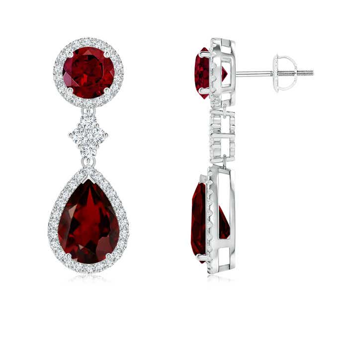 Halo Diamond Two Tier Garnet Drop Earrings - Angara.com