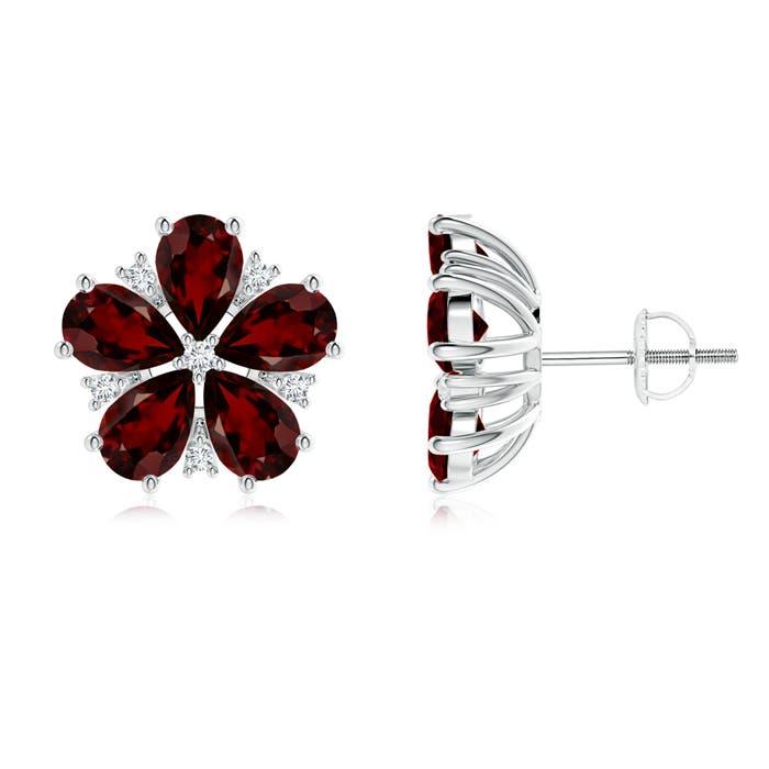 Pear-Shaped Garnet and Diamond Flower Stud Earrings - Angara.com