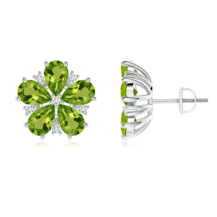 Pear-Shaped Peridot and Diamond Flower Stud Earrings - Angara.com