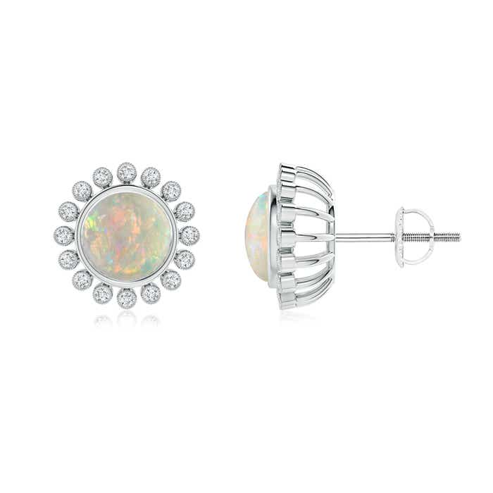 Angara Bezel-Set Opal and Diamond Halo Stud Earrings KW3zfKd2H