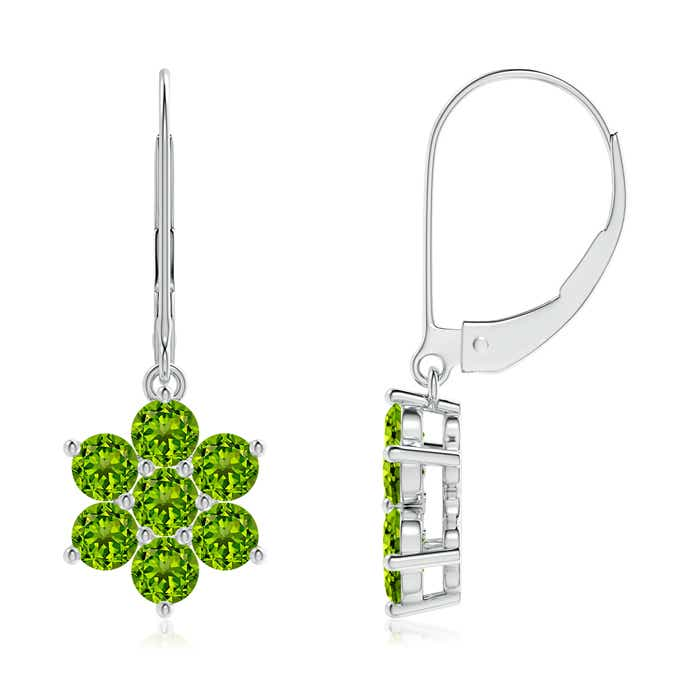 Round Peridot Floral Cluster Dangle Earrings - Angara.com