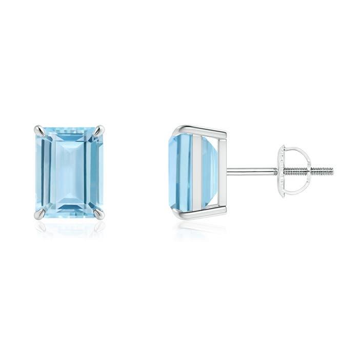 Claw-Set Emerald-Cut Aquamarine Solitaire Stud Earrings - Angara.com