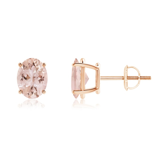 Angara Oval Morganite Studs with Diamond Halo in Rose Gold Wc6PGLl7I