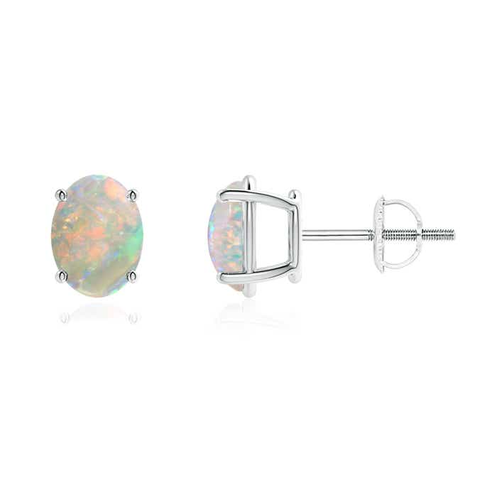 Angara Diamond Natural Opal Basket Stud Earrings in White Gold