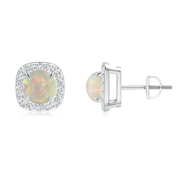 Claw-Set Cabochon Opal and Diamond Cushion Halo Earrings - Angara.com