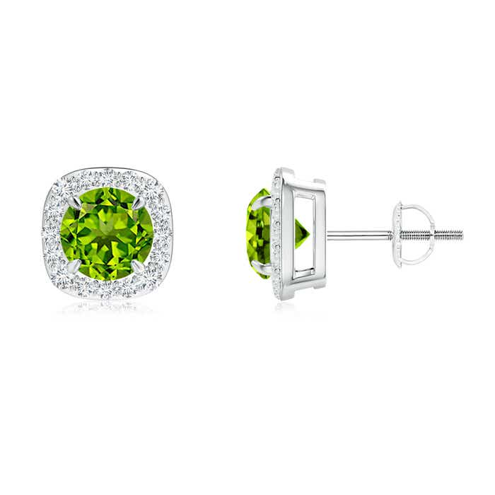 Angara Claw-Set Peridot Clover Stud Earrings
